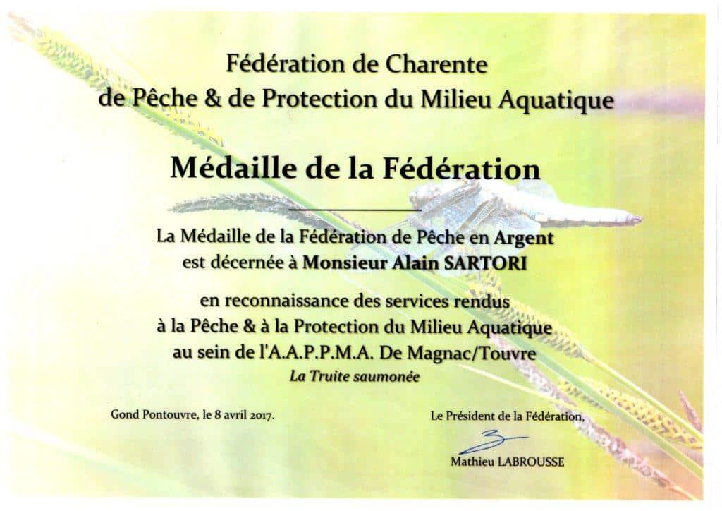 Diplome médaille Argent Alain SARTORI 8 avril 2017